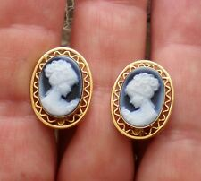 18K 750 Yellow Gold Carved Blue Agate Lady Face Cameo Omega Back EARRINGS 8.2 g.