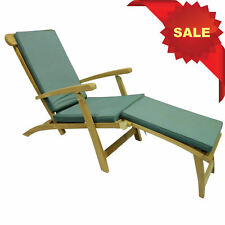 KYOTO CHUNKY INDONESIAN TEAK GARDEN STEAMER WOOD SUN LOUNGER RECLINING CHAIR BED