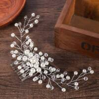 Wedding Bridal Crown Pearl Flower Crystal Hair Pins Clip Side Comb Jewelry Decor