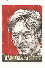 Daryl Dixon Walking Dead Hand Drawn Artist Sketch Card Auto 1/1 Hot!!!