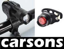 helmet headlight front white LED zoom & rear red kit alloy aluminium bike lights