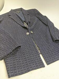 St John Blue White Checked Knit Blazer Jacket Sz 16