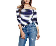 GUESS WHITE NAVY BLUE STRIPED 3/4 SLEEVE GIBSON OFF SHOULDER RIBBED TOP Sz L