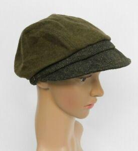 Betmar  wool herringbone tweed newsboy hat cap women's one size stretch back