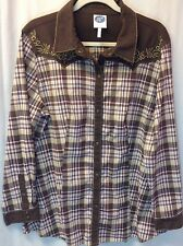 DG2 Multi Brown/white/red Plaid Shirt Size 1X, Embroidered On Top Front