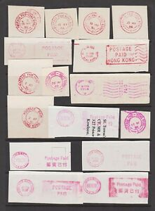 Hong Kong postage paid cancels in red and magenta ink x16