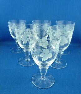 6 x Vintage bohemia fine etched crystal grape & vine design stemmed glasses