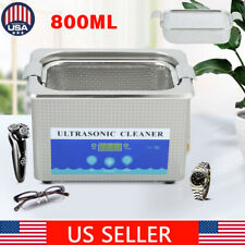 800ML Stainless Steel Digital Ultrasonic Cleaner Machine w/Timer Heated Cleaning