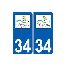 34 Gignac logo ville autocollant plaque stickers droits