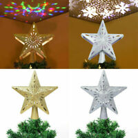 Glitter Star Christmas Tree Topper With LED Snowflake Projector Laser Hollow 3D