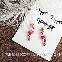 Boucles d`Oreilles Clous Doré Flamingos Oiseau Marguerite Email Rouge BB15