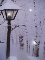 LED- Bild, Laterne im Winter, Beleuchtung 40 x 30cm Wandbild, ohne Rahmen.