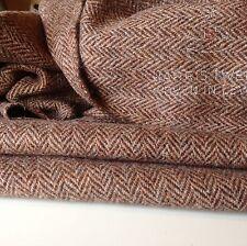 "Hand Woven Harris Tweed 100% Wool Herringbone Hgh Class Fabric 75cm 29.5"" Walnut"