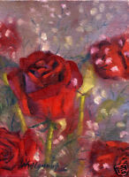 Red Roses   8 x6 in. Original Oil on canvas   HALL GROAT II