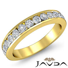 Womens Half Wedding Band Channel Set Diamond 2.75mm Ring 14k Yellow Gold 0.5Ct