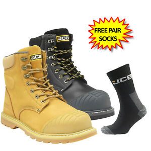 JCB 5CX+ Boots Water Resistant Safety Work Steel Toe / Midsole Side Zip Release