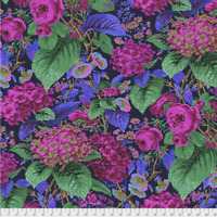 Rose and Hydrangea NAVY Philip Jacobs/ Kaffe Fassett cotton Quilting Fabric BTY