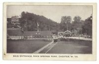 Main Entrance, Rock Springs Amusement Park CHESTER WV Postcard
