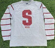 Stussy Mens Sweater Gray Red Crewneck Stanford Design Mens Sz XL