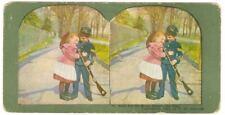 Antique 1902 Stereoview Card Child Civil War None but the Brave Deserve the Fair