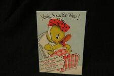 Vintage DUCK Get Well Card c. 1940s by: GIBSON
