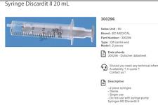 46 20ml Disposable Syringes No Needle Slip On Bd Discardit 300296 B4tp