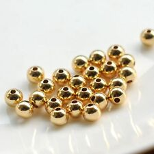 10pcs Hot Sale Solid 14k Yellow Gold DIY Bead 3mm Luck Smooth Loose Bead
