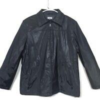 Gallery Giacca Women's Black Zip Up Jacket Fleece Lined Size Large | No Hood