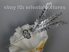Tribal exotic chinese hand-carved miao silver feather hairpin headgear