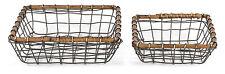 "Rustic Farmstead Nested Square Wire Basket Set w/ Rattan Rim, Lg = 10""Lx10""Wx3&#03 4;H"