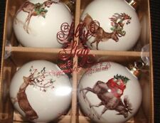 4 NEW POTTERY BARN SILLY STAG BALL CHRISTMAS ORNAMENTS New In Box