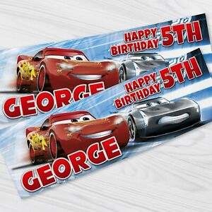 Disney Cars Birthday Banner - Personalised Cars Children Party Banners x 2