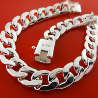 """Bracelet Bangle Real 925 Sterling Silver SF Solid Mens Heavy Curb Cuban Link 9"""""""