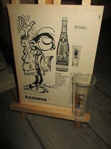 Franquin-Reunion de collectors 1968-Verre Gaston accompagné de sa page Raisinor