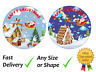 Happy merry Christmas santa and house cake topper edible icing or Wafer