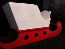 original vintage wooden sleigh Christmas decoration Primitive Country red/white