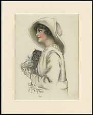 AFFENPINSCHER AND PRETTY LADY LOVELY DOG PRINT MOUNTED READY TO FRAME