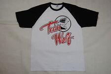Teen Wolf Logo Raglan Baseball Jersey T Shirt Grande Nuovo Ufficiale 1985 Movie Film