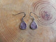 Lepidolite or Amethyst Sterling Silver Dangle Earrings by GC Navajo