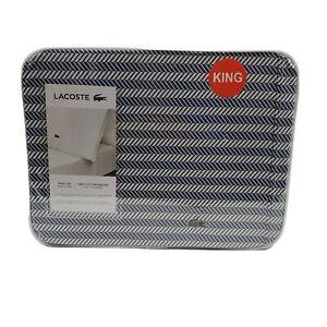 LACOSTE 4 Piece Herringbone Vintage Indigo Blue White Cotton King Sheet Set