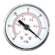 Dry Utility Vacuum Pressure Gauge Blk Steel 1/8BSPT Lower Mount -30-0HG/-1~0bar
