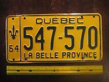 License Plate, Canada, Quebec, 1964, 547 - 570, Motto: La Belle Province