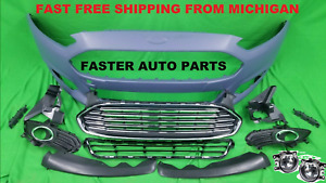 Ford Fusion 13-16 Front Bumper COMPLETE TITANIUM SEL FOG LIGHT 2013 2014 2015 16