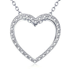 """Brilliant Eternity Love Heart Necklace 18"""" 925 Sterling Silver Stones Crystal CZ"""