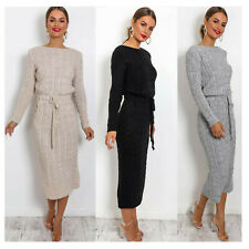Ladies Women Cable Knitted Pocket Long Sleeve Tie Up Midi Party Dress Jumper Top