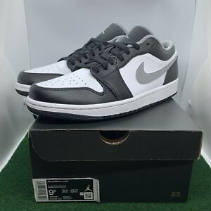 Nike Air Jordan 1 Retro Low Black White Grey Shadow (2021) 553558-040 Mens 9.5