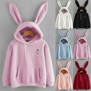 Women Long Sleeve Rabbit Hoodie Sweatshirt Jumper Pullover Tops Blouse Shirt 998