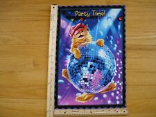 Party Time Cat Disco Ball Lights Hat Cotton Quilt Fabric Block