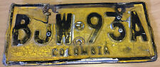 Colombia Motorcycle License Plate Tag Placa Moto South America Medellin Yellow