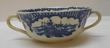 Bowl Blue and White Porcelain Marked Japan and England Anchor Wreath Antique